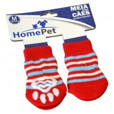 L2107 - MEIA VERMELHA COM LISTRAS AZ/BRA G